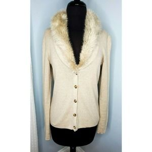 BANANA REPUBLIC Faux Fur Cashmere Cardigan Sweater